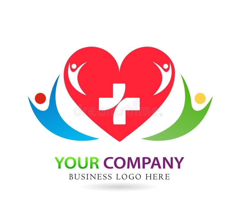Cuore rosso medico, amore, segno della famiglia dell'elemento dell'icona di logo di concetto della società su fondo bianco Bambin illustrazione di stock