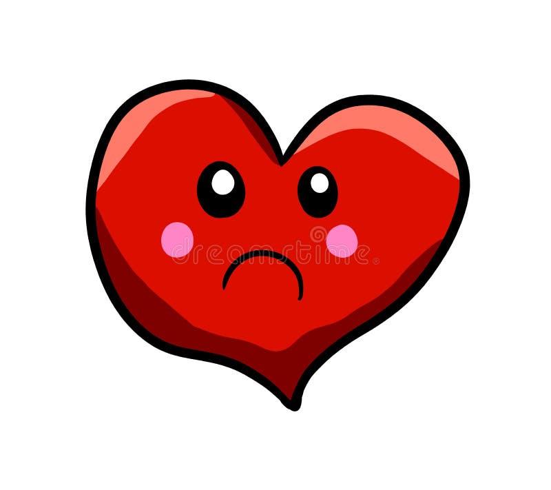 Cuore rosso molto triste del fumetto illustrazione di stock