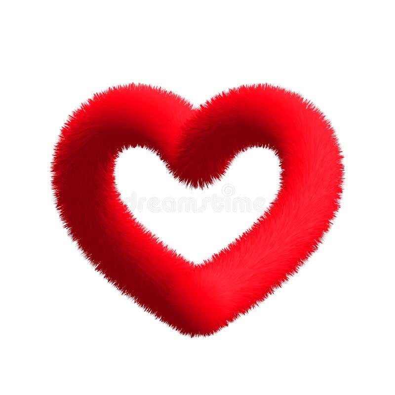 Cuore rosso simile a pelliccia lanuginoso su un fondo trasparente illustrazione vettoriale