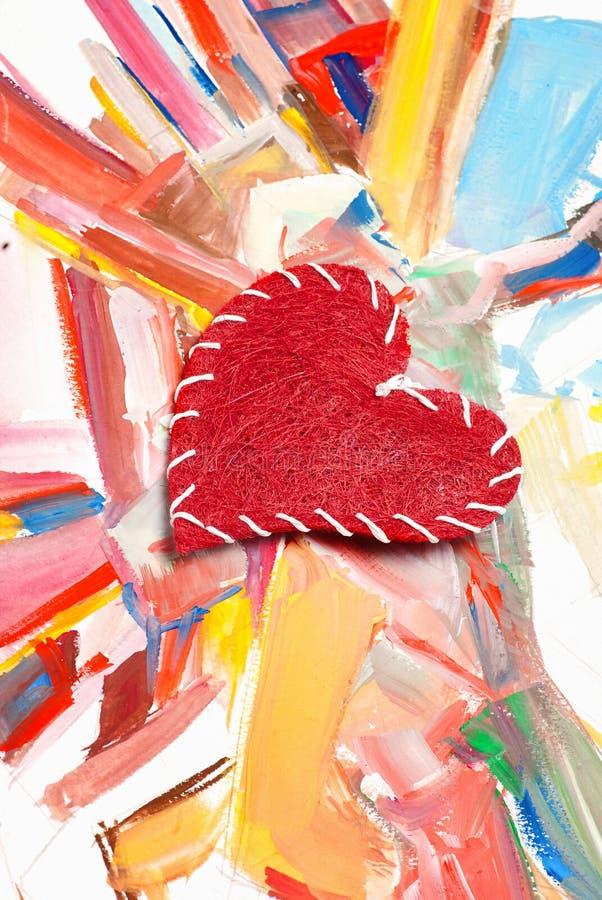Cuore rosso sulla priorità bassa dell'acquerello immagine stock libera da diritti