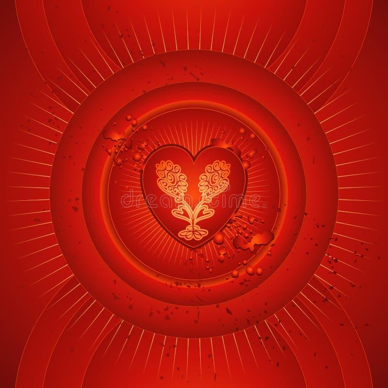 Cuore rosso, vettore, biglietti di S. Valentino illustrazione di stock