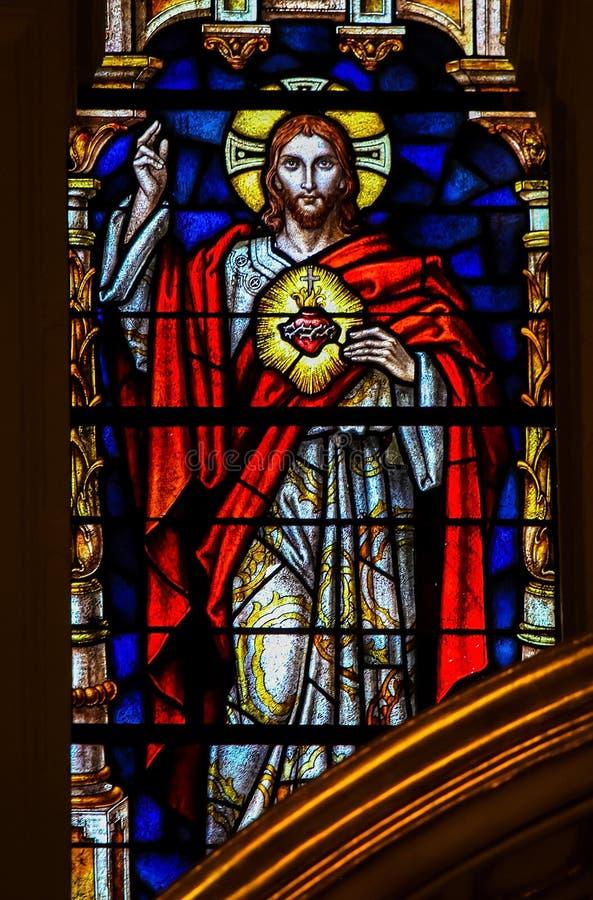 Cuore sacro di Jesus Christ - vetro macchiato fotografia stock libera da diritti