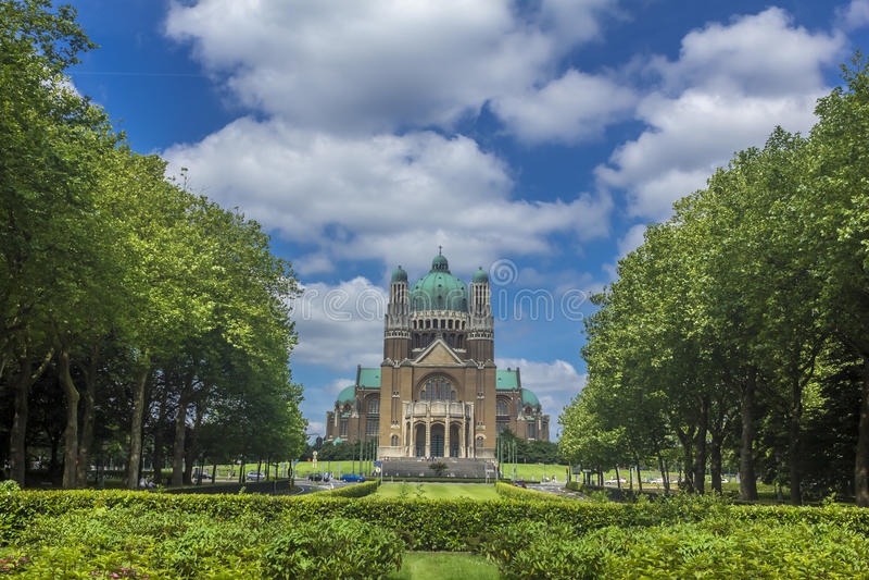 Cuore sacro Parc Elisabeth Brussels Belgium della basilica fotografia stock libera da diritti
