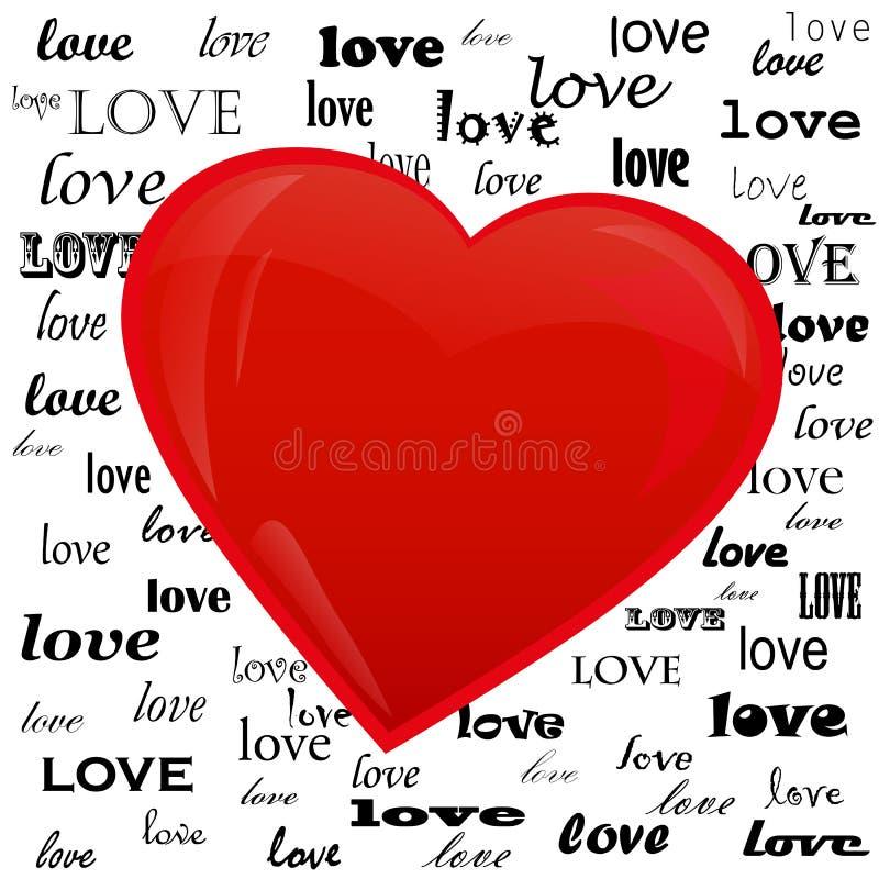 Cuore sui precedenti dell'amore di parola illustrazione di stock