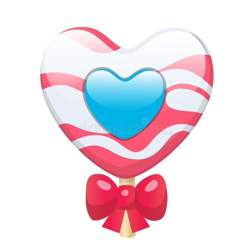 Cuore sveglio adorabile della lecca-lecca della caramella del fumetto con l'arco rosso Vector l'illustrazione, clipart, isolato s royalty illustrazione gratis