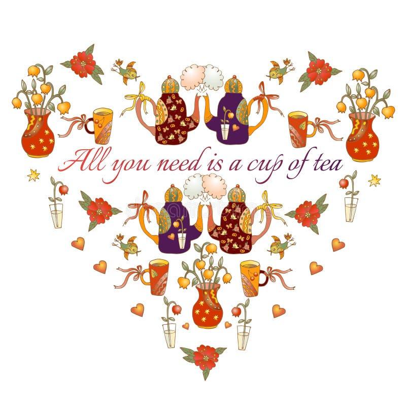 Cuore sveglio dalle teiere, dalle tazze, dagli uccelli, dalle farfalle e dai fiori del fumetto royalty illustrazione gratis