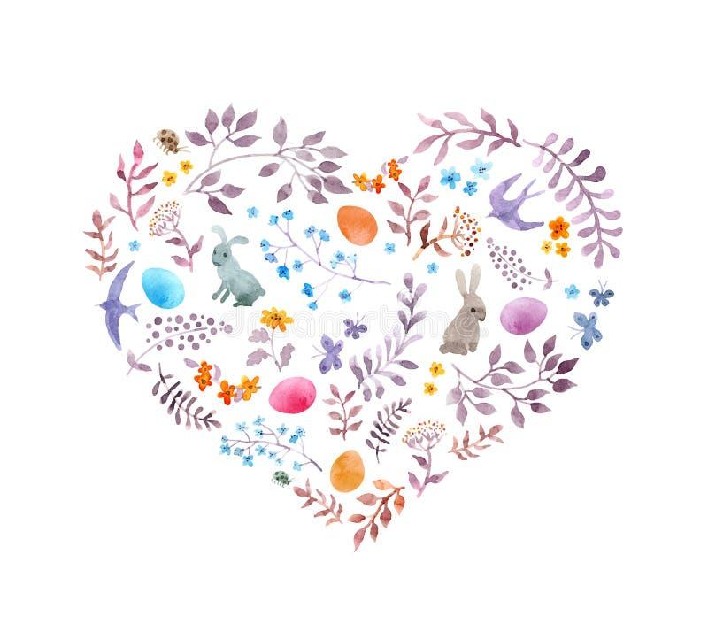 Cuore sveglio di pasqua con i conigli, uova, fiori d'annata, uccelli watercolor illustrazione di stock