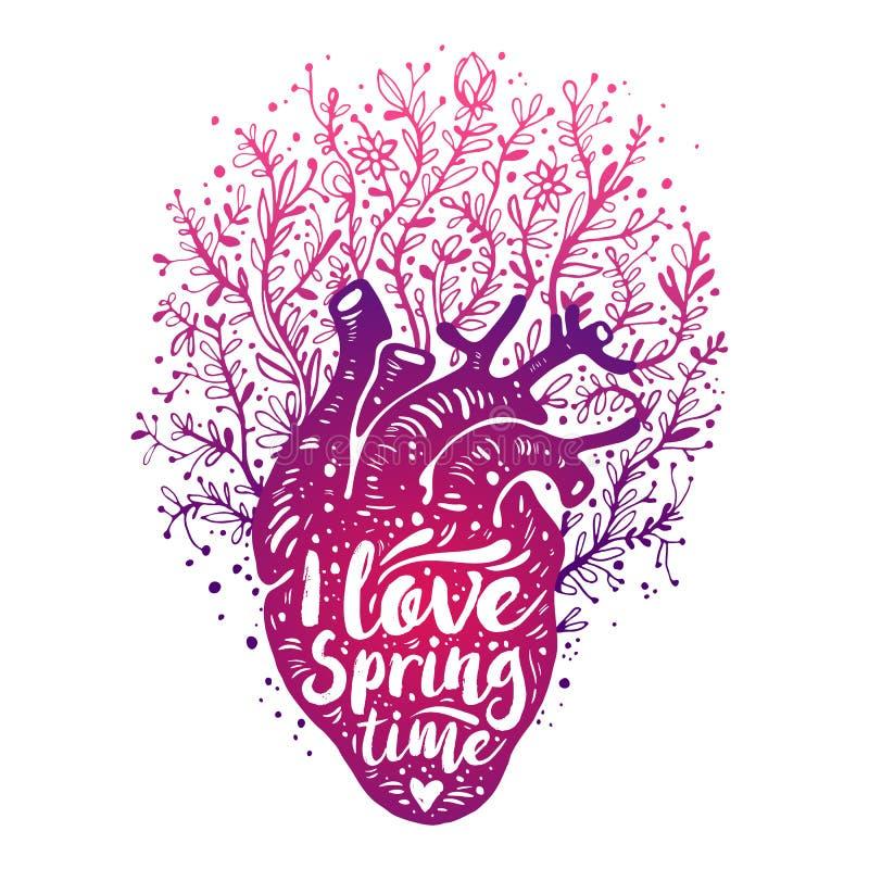 Cuore umano anatomico di fioritura con i fiori tempo di molla di amore del tagline I Scheda di giorno dei biglietti di S Illustra illustrazione di stock