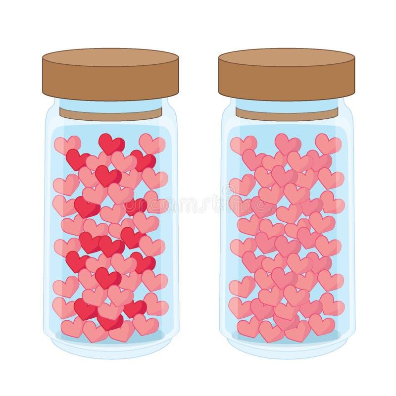 Cuore in una bottiglia di vetro su fondo bianco royalty illustrazione gratis
