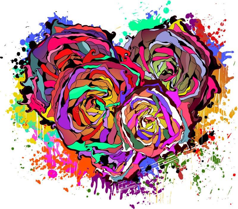 Cuore variopinto astratto delle rose. royalty illustrazione gratis