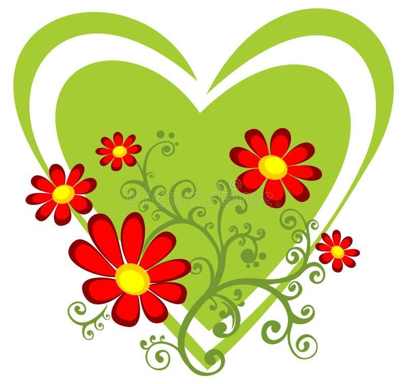 Cuore verde con i fiori rossi illustrazione di stock