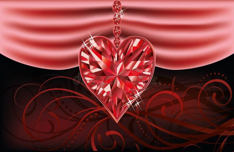 Cuore vermiglio di amore, carta di giorno di biglietti di S. Valentino illustrazione di stock