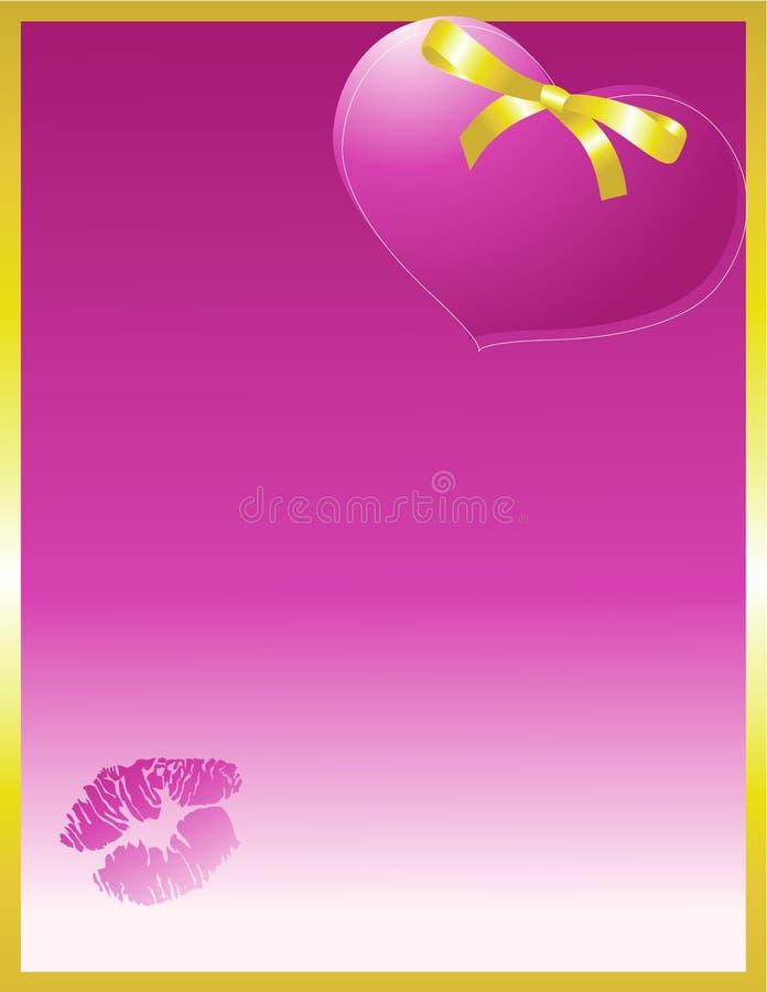 Cuore viola ed arco con gli orli immagini stock