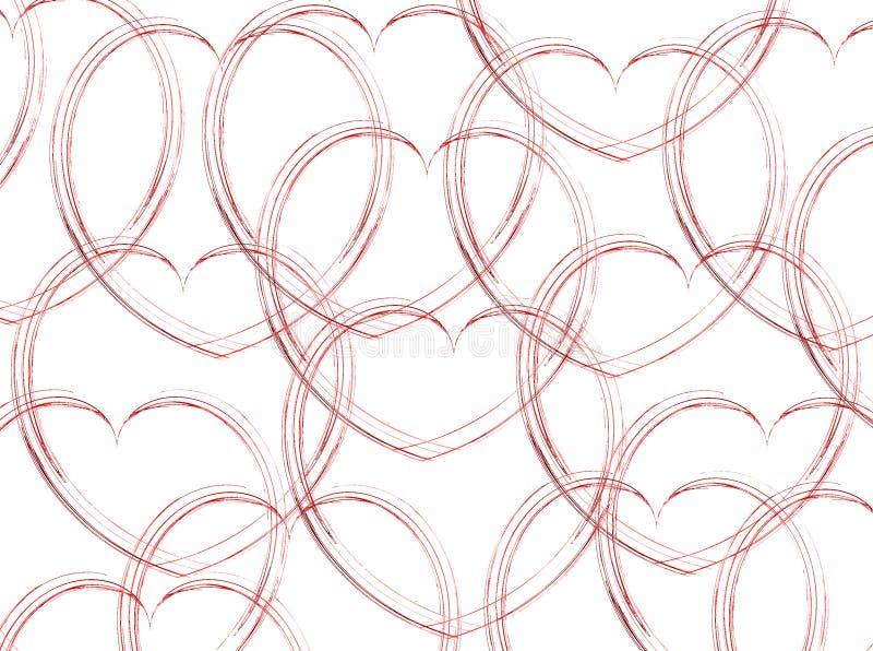 Cuori abbozzati su bianco illustrazione di stock