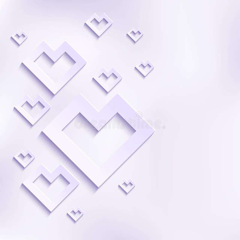 Cuori astratti di bianco di vettore royalty illustrazione gratis