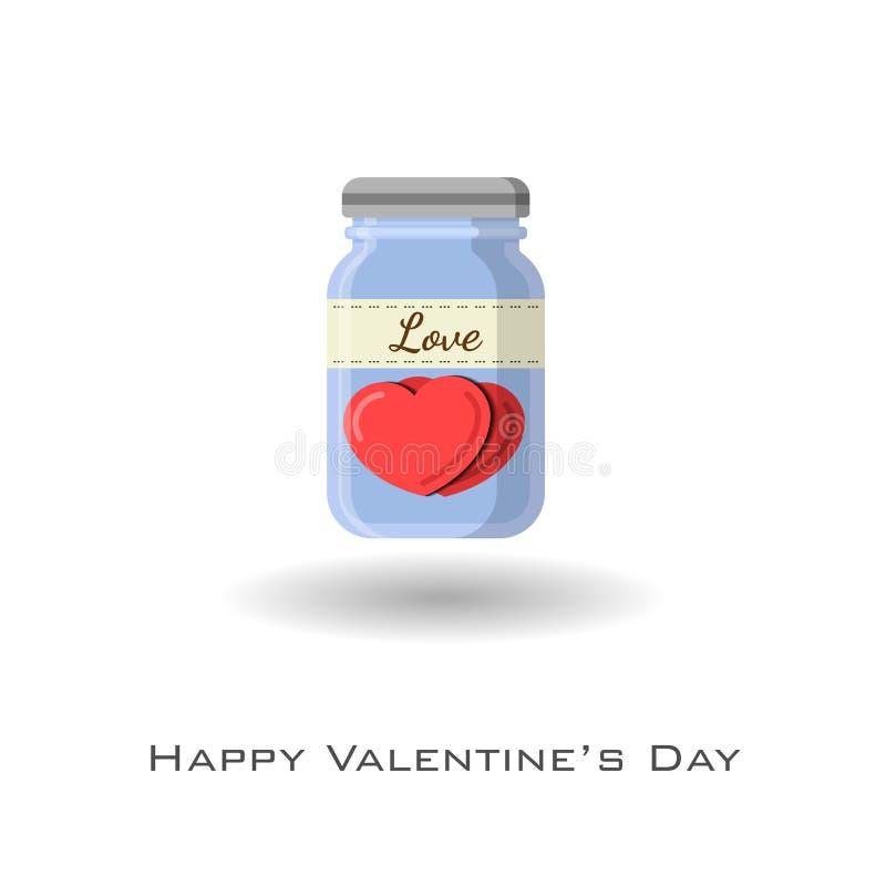 Cuori in barattolo con l'etichetta di amore per celebrare biglietto di S. Valentino royalty illustrazione gratis