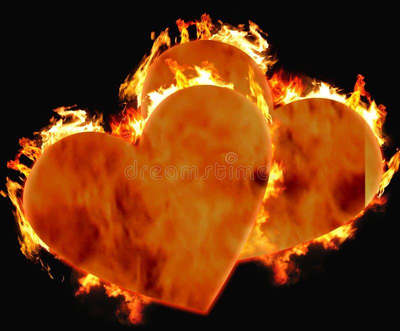 Cuori brucianti fotografie stock