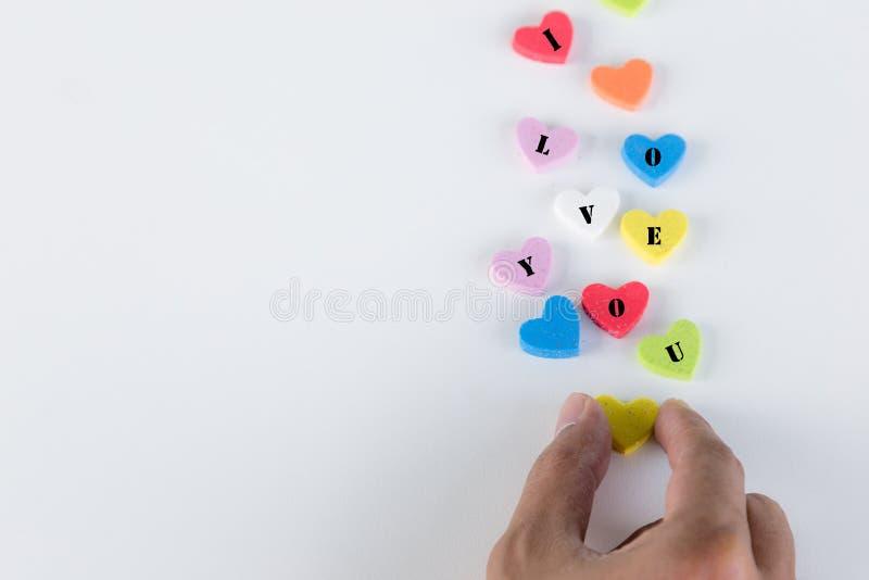 Cuori Colourful con ti amo la parola fotografie stock libere da diritti