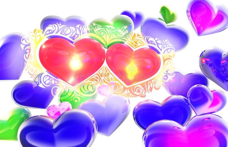 Cuori in composizione nell'estratto 3D di amore illustrazione vettoriale