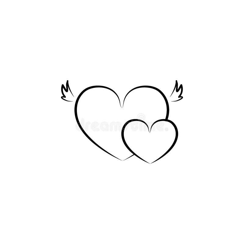 cuori con l'illustrazione di schizzo delle ali Elemento dell'icona di nozze per i apps mobili di web e di concetto Cuori di stile royalty illustrazione gratis