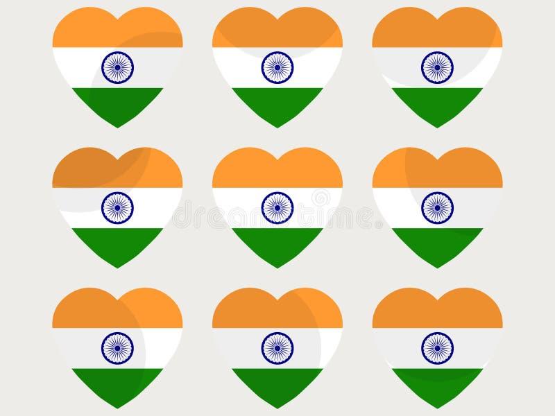Cuori con la bandiera indiana Amo l'India Insieme indiano dell'icona della bandiera Vettore illustrazione vettoriale