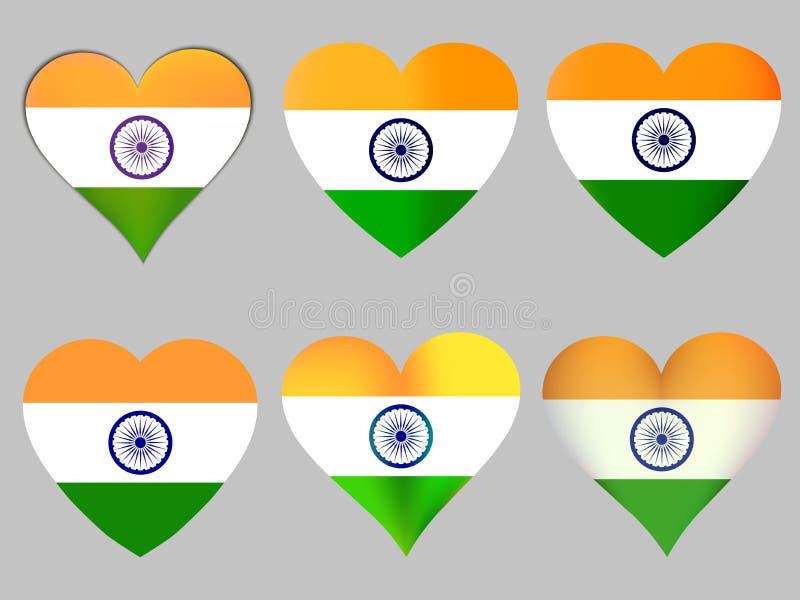 Cuori con la bandiera indiana Vettore royalty illustrazione gratis