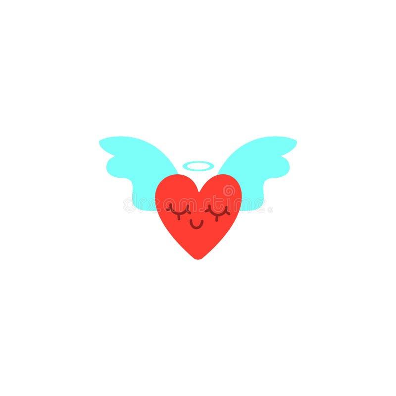 Cuori con le ali Illustrazione di giorno di biglietti di S. Valentino Immagine sveglia di stile del fumetto Cuori alati, corona b illustrazione vettoriale