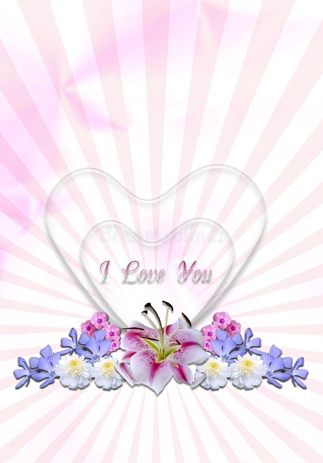 Cuori con le ghirlande dei fiori nel fondo radiante illustrazione vettoriale