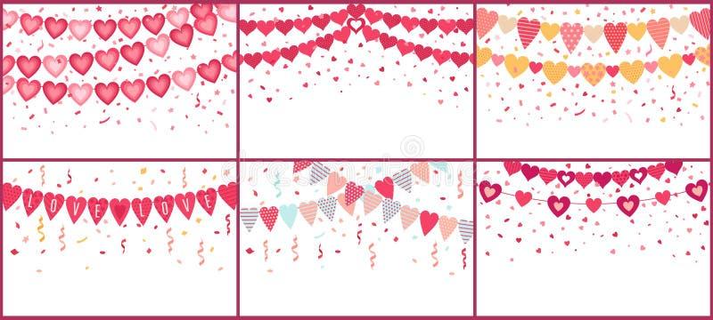 Cuori d'amore Amore garland, bandiere di cortile decorate con coriandoli a colori royalty illustrazione gratis