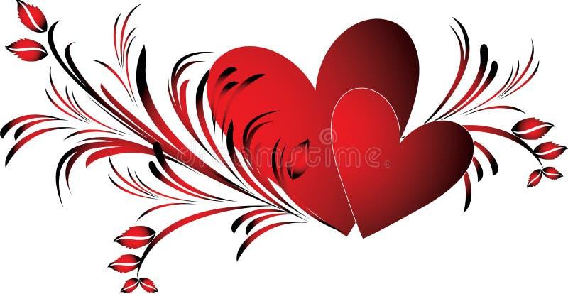 Cuori dei biglietti di S. Valentino royalty illustrazione gratis