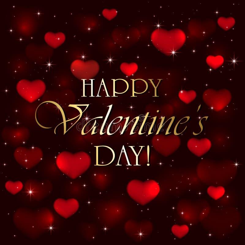 Cuori dei biglietti di S. Valentino su fondo confuso rosso illustrazione vettoriale