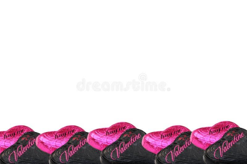 Cuori del cioccolato dei biglietti di S. Valentino fotografia stock libera da diritti