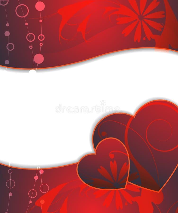 Cuori del Claret di giorno del biglietto di S. Valentino royalty illustrazione gratis