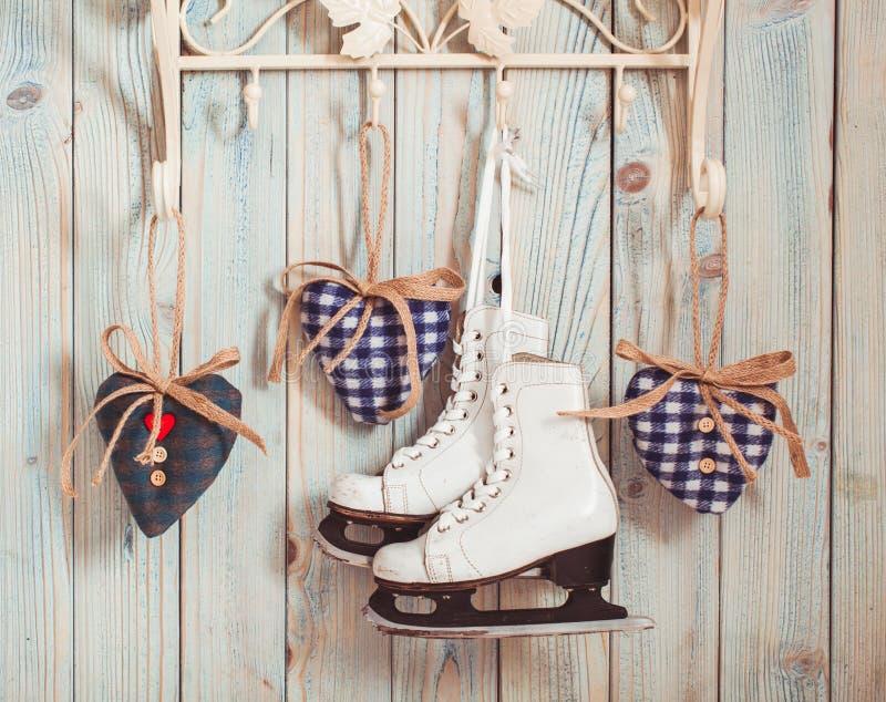 Cuori del feltro di Natale fotografie stock libere da diritti