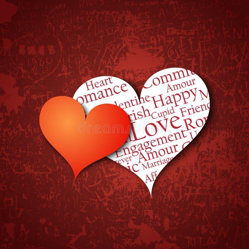 Cuori del giorno del biglietto di S. Valentino illustrazione vettoriale