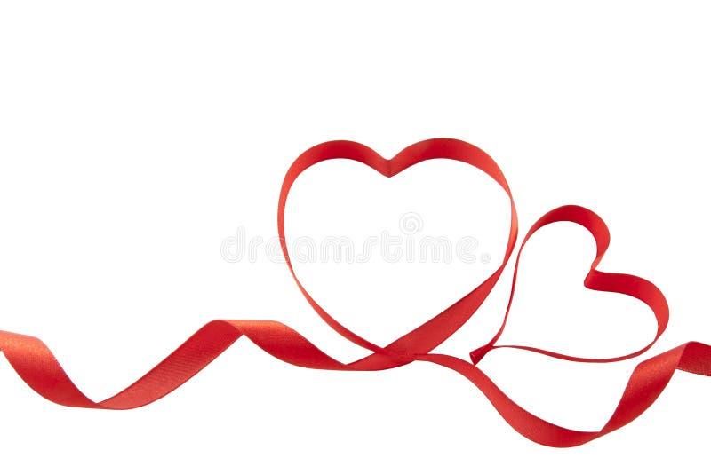 Cuori del nastro dei biglietti di S. Valentino fotografia stock libera da diritti