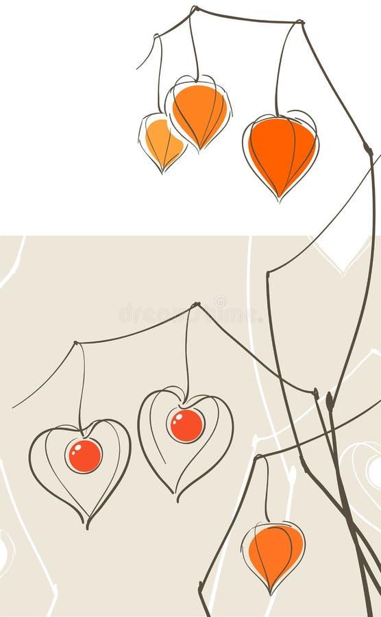 Cuori del Physalis (lanterna cinese) royalty illustrazione gratis