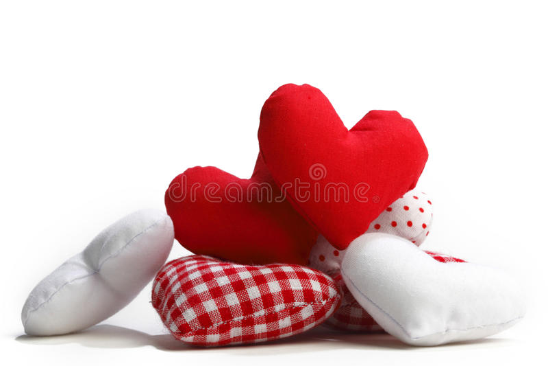 Cuori del tessuto di giorno di biglietti di S. Valentino immagine stock libera da diritti