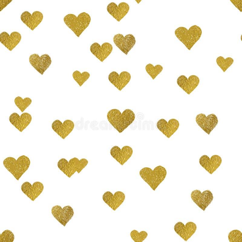 Cuori dell'oro su fondo bianco Reticolo senza giunte illustrazione di stock