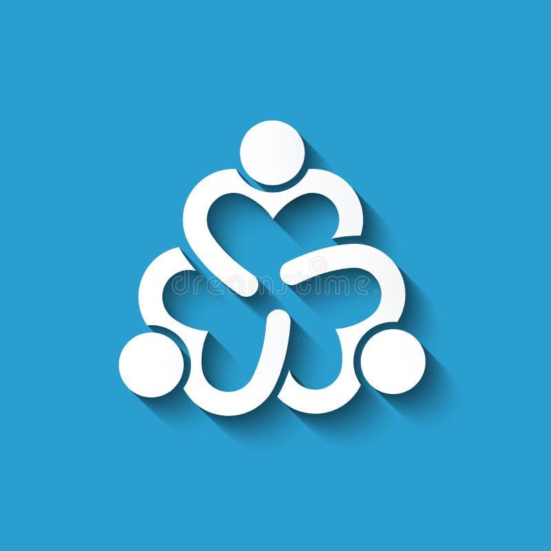 Cuori della gente di lavoro di squadra Progettazione di logo di vettore illustrazione vettoriale