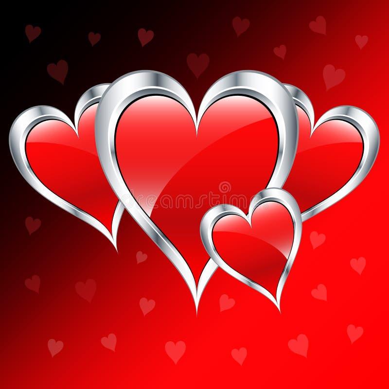 Cuori di amore di giorno del biglietto di S. Valentino illustrazione di stock