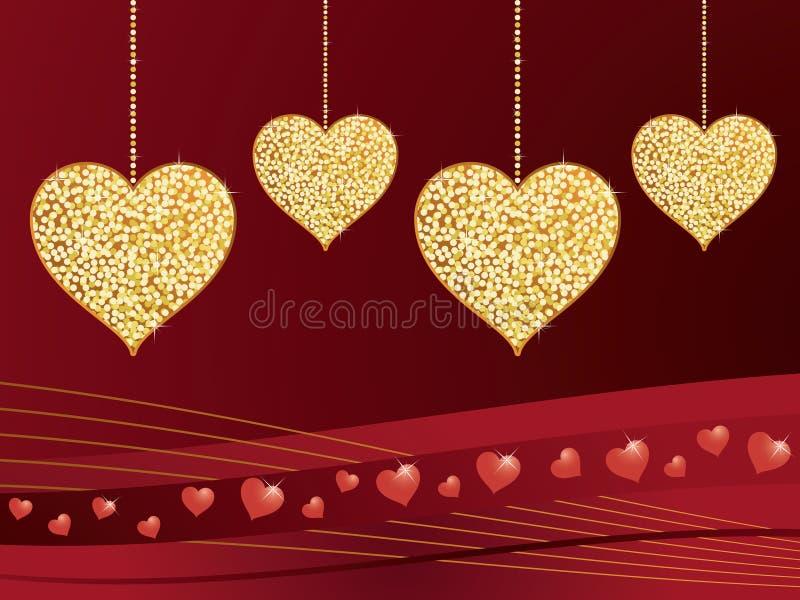 Cuori di amore di scintillio dell'oro illustrazione di stock