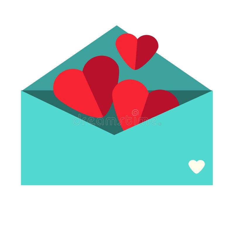 Cuori di carta in busta Lettera di amore romantica Icona di giorno del ` s del biglietto di S. Valentino della st, simbolo royalty illustrazione gratis