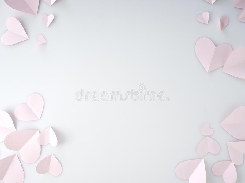 Cuori di carta rosa disposti su fondo bianco immagini stock libere da diritti