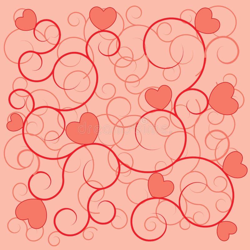 Cuori di colore rosso della priorità bassa di giorno del biglietto di S. Valentino illustrazione vettoriale