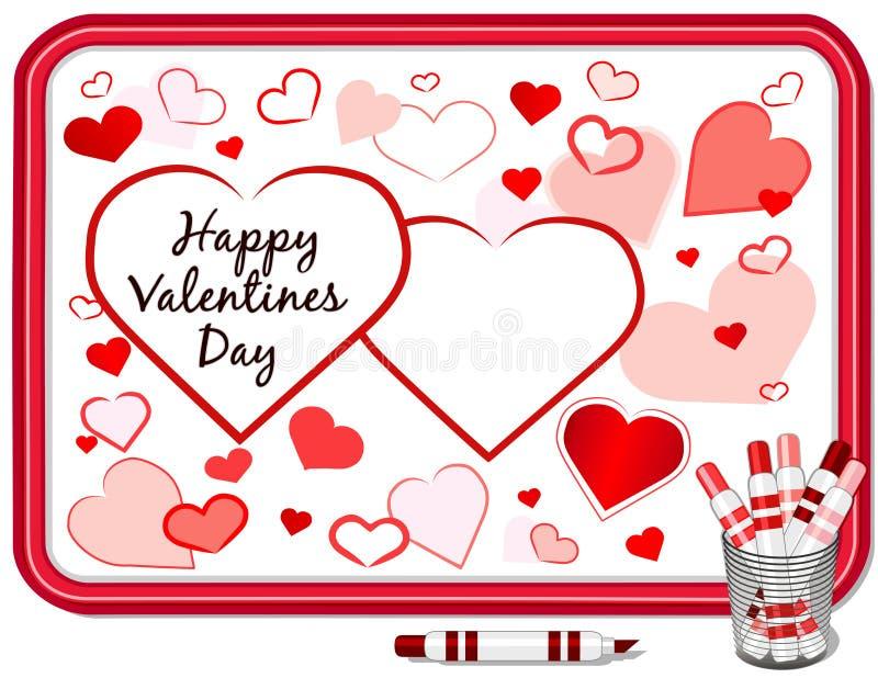 Cuori di giorno dei biglietti di S. Valentino, Whiteboard illustrazione di stock