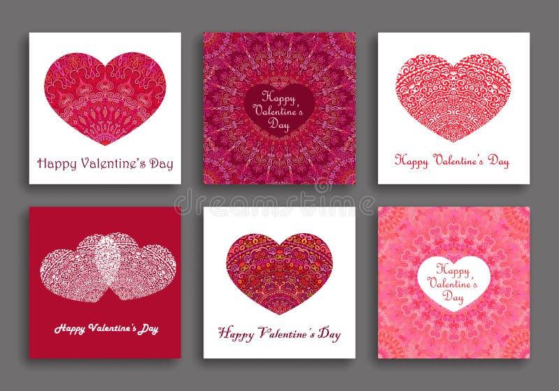Cuori di Valentine Day Cards Set Different royalty illustrazione gratis