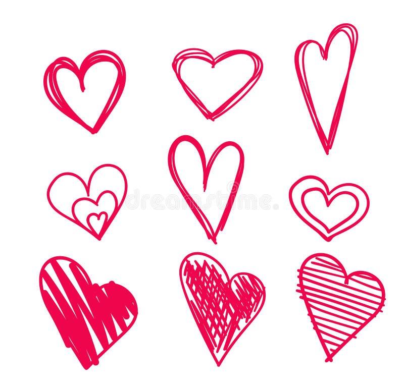 Cuori disegnati a mano messi isolati Elementi di progettazione per il giorno del ` s del biglietto di S. Valentino Raccolta dei c illustrazione vettoriale