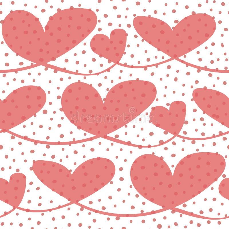 Cuori disegnati a mano trasparenti felici con struttura irregolare della bolla Modello senza cuciture di vettore su fondo bianco  illustrazione di stock