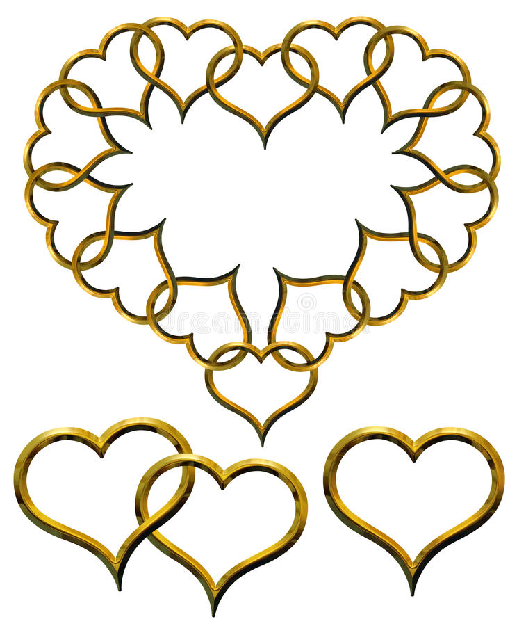 Cuori dorati del biglietto di S. Valentino impostati illustrazione vettoriale